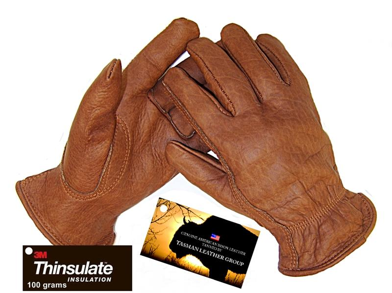 Bison Leather Work Gloves In Rust Color